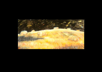 "MacDowell Hay Bale Series #12, Constellation, 1987, oil on canvas, 18-1/4"" x 40"""