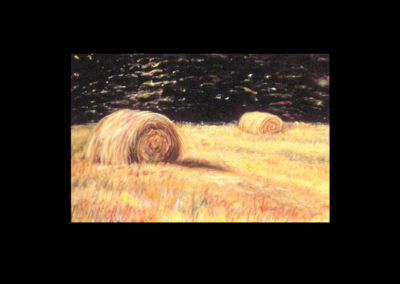 "MacDowell Hay Bale Series #13 Fire Flies, 1987, oil on canvas, 25"" x 40"""