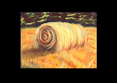 "MacDowell Hay Bale Series #14 Split Energy, 1987, oil on canvas, 25"" x 34"""