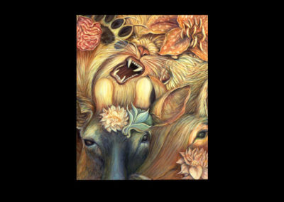 "Flowery Combat, 1997, oil on canvas, 32"" x 26"""