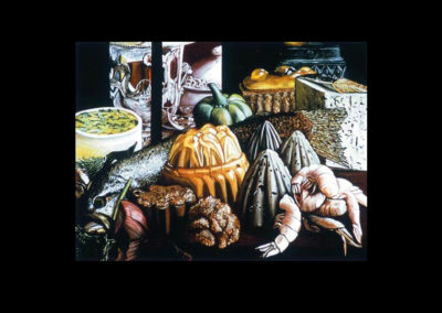 "Lunar Lunch, 1969, oil on canvas, 42.5"" x 55"""