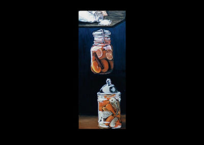 "Pickled, 1969, oil on wood panel, 48.5"" x 19.5"""