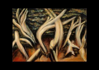 "The Struggle, 1985, oil on canvas, 29"" x 39"""