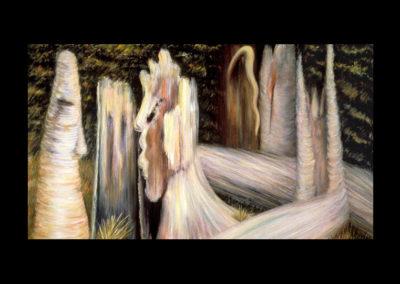 "Wedding, 1985, oil on canvas, 24"" x 42"""