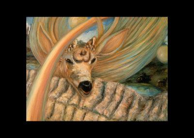 """Deer Deer Two Moons of July, 1985, oil on canvas, 16"""" x 22"""""""