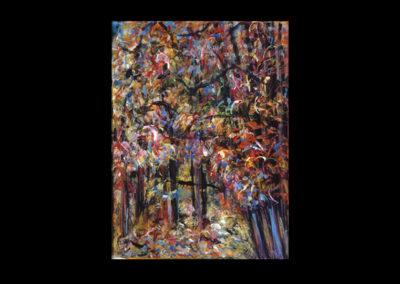 """Rim, Bird/Bats #7, 1989, acrylic on museum board, 16-1/2"""" x 12-1/4"""""""