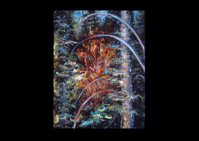 """Rim, Cathedral Fire #09, 1989, acrylic on canvas, 16"""" x 12"""""""