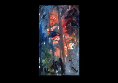 "Rim, Flame #13, 1989, acrylic on canvas, 30"" x 17"""