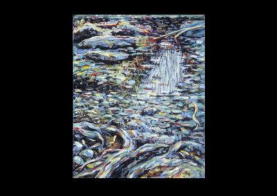 "Rim, Stream Leaf Dance #16, 1990, acrylic on linen, 14"" x 11"""