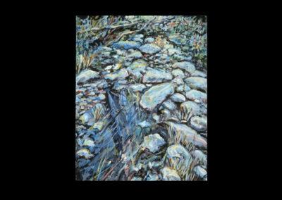 """Rim, Stream Stones #20, 1990, acrylic on linen, 14"""" x 11"""""""