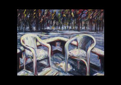 "Rim, Rim Chairs #04, 1989, acrylic on canvas, 18"" x 24"""