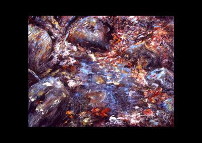 "Rim, Fall Palette Pool #24, 1990, acrylic on linen, 18"" x 24"""